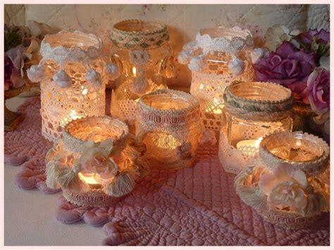 candele da decorare decorare dei barattoli con pizzi e merletti in attesa