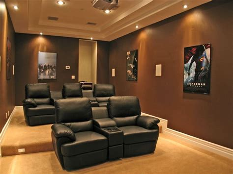 modern home theater with box ceiling carpet in las vegas