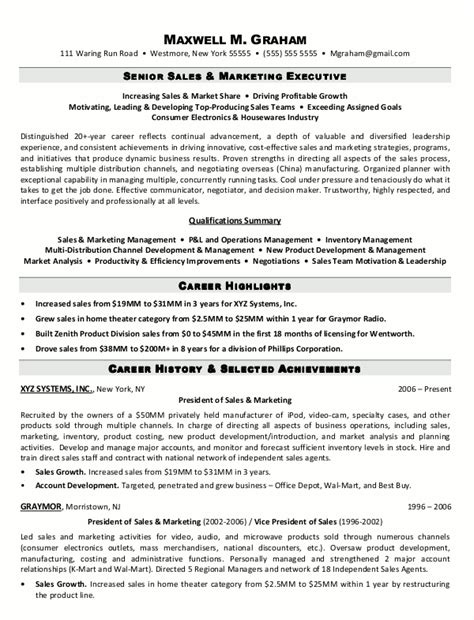 senior executive resume sles resume sle 2 senior sales marketing executive