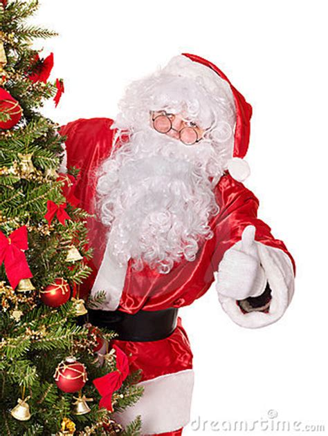 santa claus thumbs up santa claus by tree thumb up stock image image 17168031