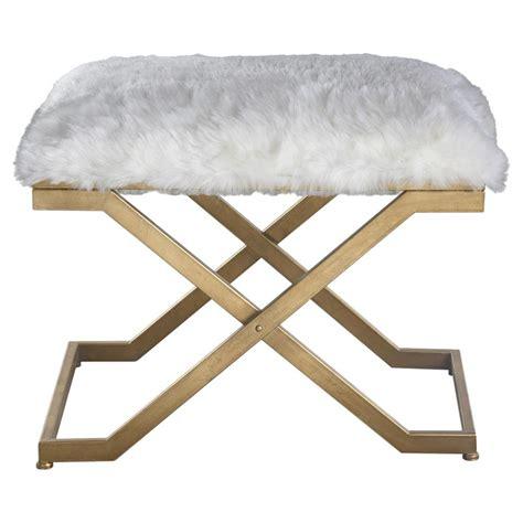 bench stool lorna regency white faux fur antique gold stool kathy