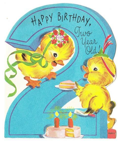 Happy Birthday Wishes For Two Year Vintage Baby Card Vintage Baby Ducks With Cake 2 Year