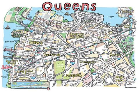 printable queens map queens ny map print hand drawn new york art home illustration