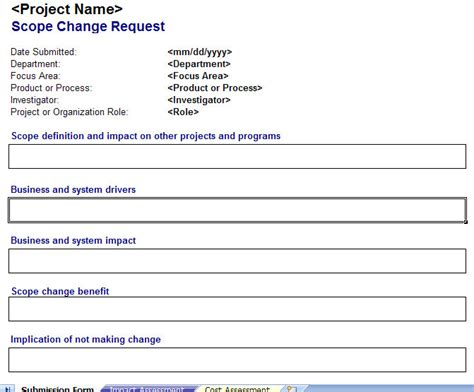 change request template scope change management plan scope change request form
