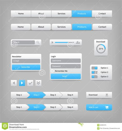 design menu buttons web site elements with blue buttons navigation on stock