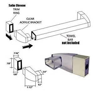 Shower Door Towel Bar Bracket Clear Acrylic Towel Bar Brackets With Satin Chrome Sleeve Shower Doors