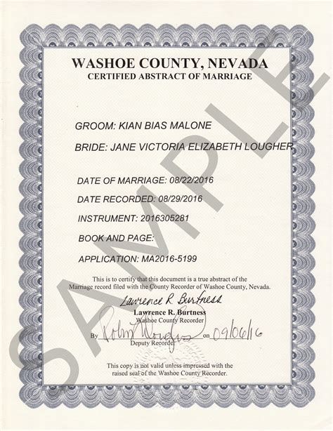 Reno Nv Marriage Records Sle Certificates Nevada Document Retrieval Service