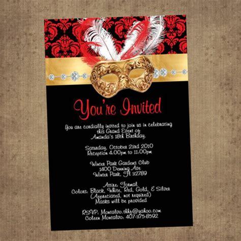 Red Masquerade Invitations 256