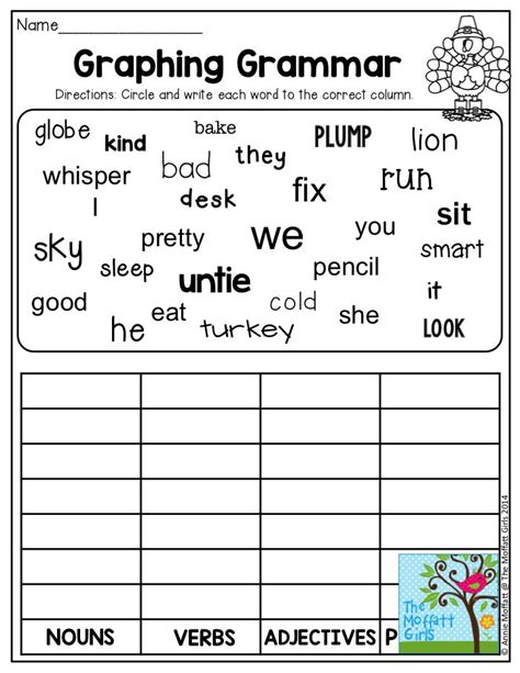 Grammar Worksheets For 2nd Grade by Nouns And Verbs Worksheets Second Grade 2nd Grade