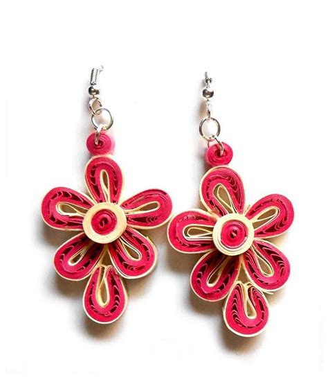 Paper Earring - smartkshop handmade light weight pink flower quilling