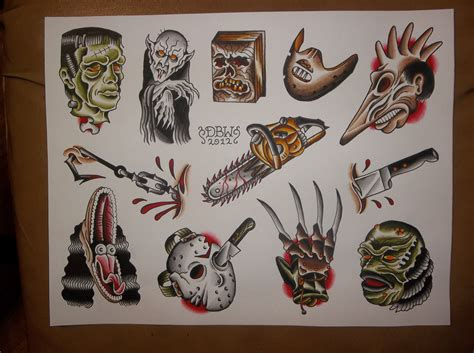 traditional tattoo flash horror traditional flash sheet
