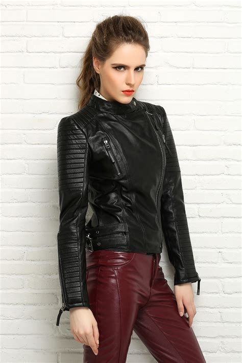 stylish womens motorcycle factory genuine sheep skin women leather jacket brand