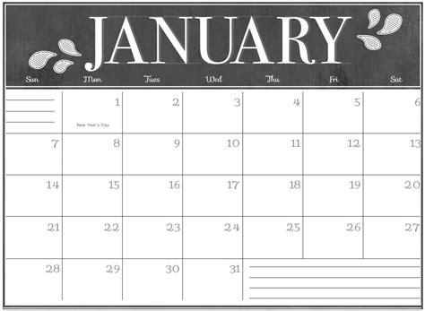 january 2018 calendar printable as pdf and image 1 month 1 page