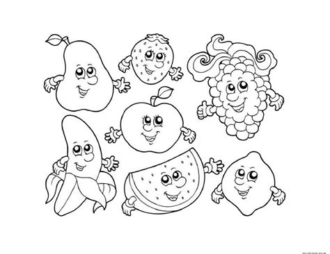 Free Fruit Coloring Pages by Apple Watermelon Strawberry Banana Grape Coloring In