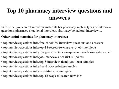 top 10 pharmacy questions and answers