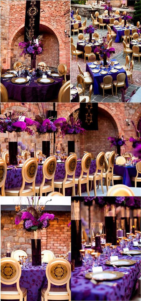 purple  gold wedding decoration inspirations wedding