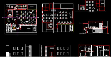 restaurant hotel roof top hotel  dwg plan  autocad