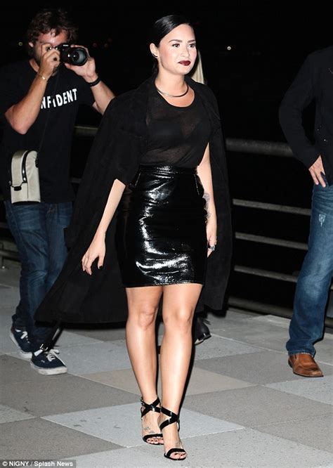 demi lovato dons leather skirt to confident