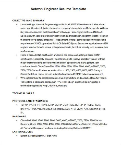 standard resume format for engineers doc 6 network engineer resume templates psd doc pdf