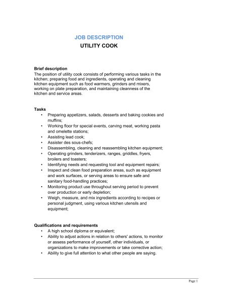 utility cook description template sle form biztree