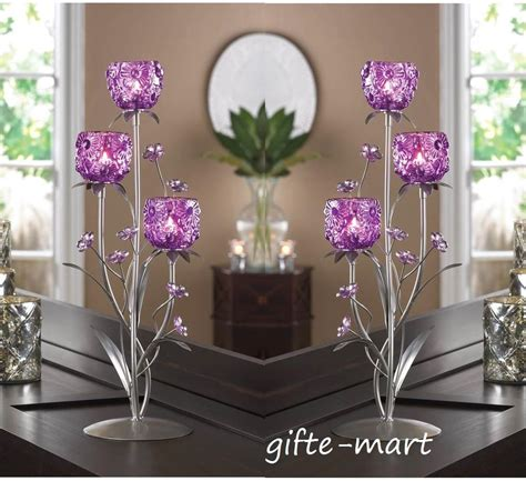 Large Purple Table L by 3 Large Purple Flower 18 Quot Table Candle Holder Table Centerpiece Ebay