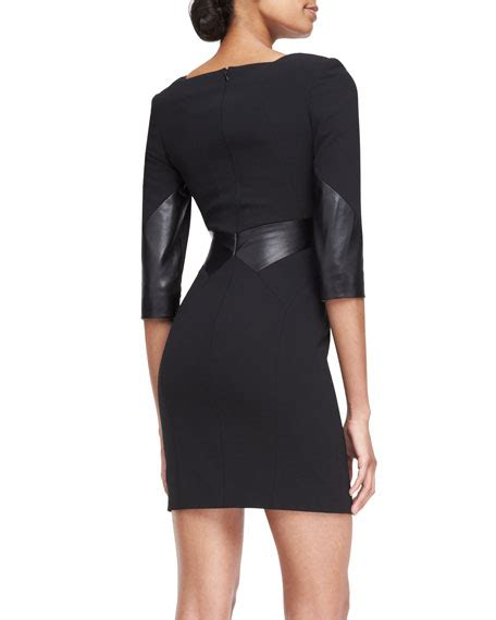 3 4 sleeve paneled dress rubin singer 3 4 sleeve leather paneled dress