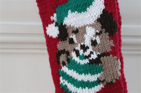 knitting pattern for dog christmas stocking knitted puppy christmas stocking inklings yarns