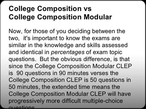 Clep Essay Topics by Free College Composition Clep Study Guides Free College Composition