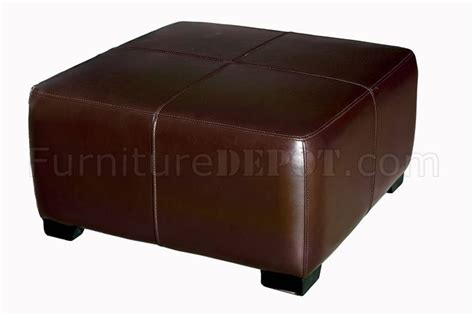 colored leather ottoman brown color square shape leather ottoman