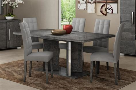 gray dining table set modern venicia collection extending dining table in grey