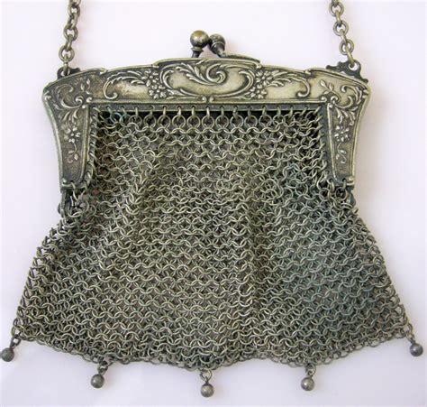 Fantique Bag antique german silver mesh purse evening bag