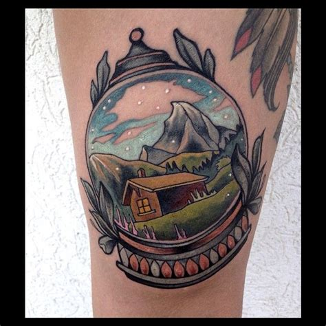 pinterest tattoo globe beautiful little mountain scene snow globe tattoo by brian