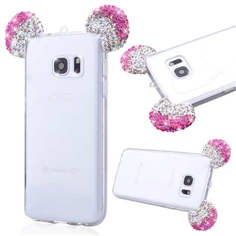 Samsung J120 J1 2016 3d Mickey Mouse Ear Cover Casing Iring Bagus bling glitter rhinestone 3d mickey mouse ear design cover