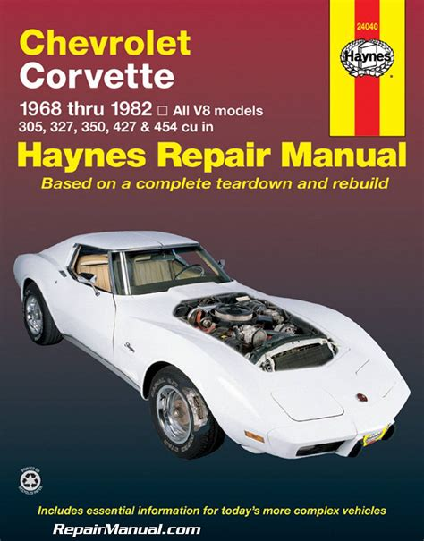 how to download repair manuals 1978 chevrolet corvette parental controls repair manual haynes 1968 1982 chevrolet corvette