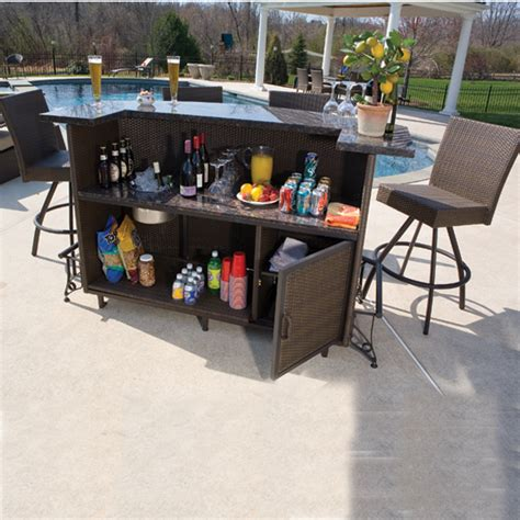 Outdoor Bar Furniture Vento Outdoor Bar And Stools Patio Furniture By Alfresco