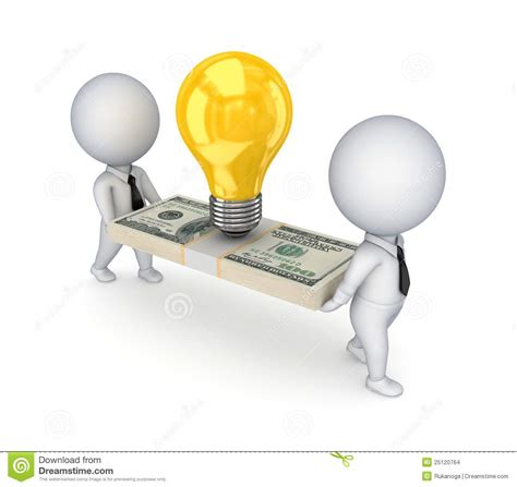 idea pictures 3d small people idea symbol and dollar pack stock