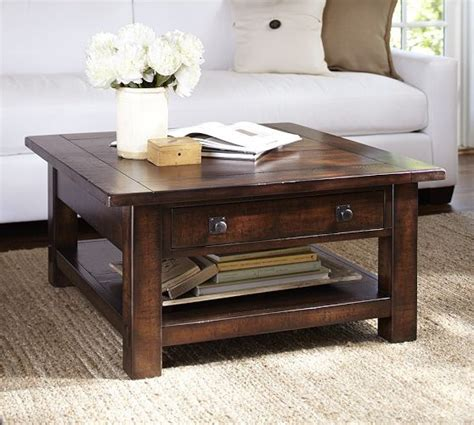 Benchwright Square Coffee Table   Rustic Mahogany   Pottery Barn   For the Home   Pinterest