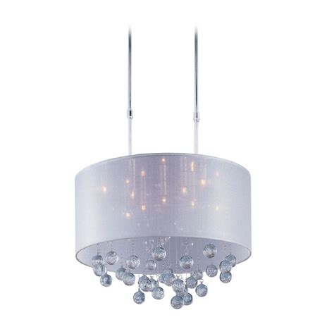 Pendant Lighting Drum Shade Modern Drum Pendant Light With Silver Shade In Polished Chrome Finish E22385 120pc