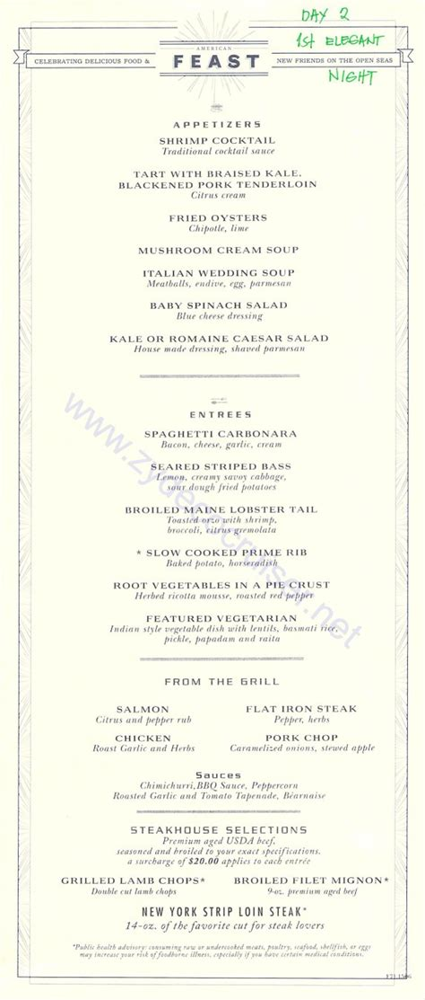 Table 9 Menu by Carnival Freedom Mdr Menus American Table Day 2 Page 1
