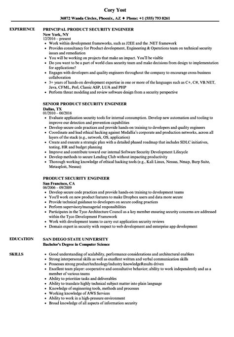 Security Engineer Resume by Product Security Engineer Resume Sles Velvet