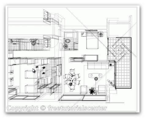 home plan interior view autocad dwg files
