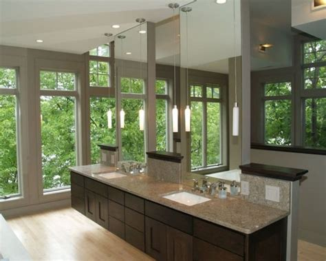 Spa Like Bathroom Vanities by Floating Vanity Along With E Use Of Glass Give This Master Bath A Spa Like Feel Decoist