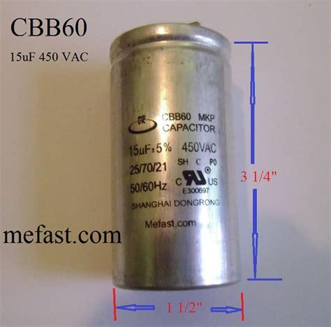 capacitor cbb60 450vac cbb60 450vac 15uf capacitor