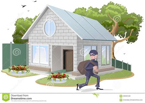 house property insurance male thief robbed house burglaries property insurance stock vector image 59032448