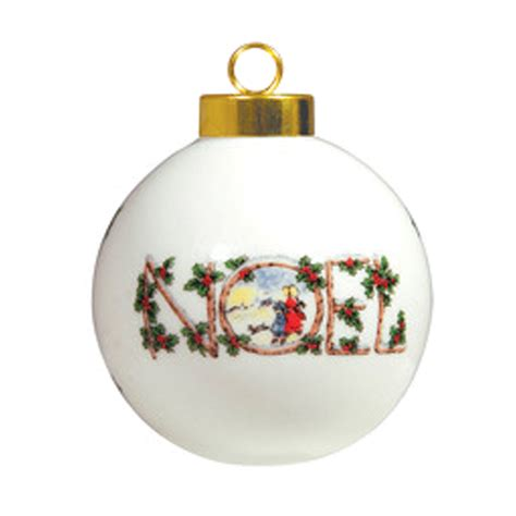 ceramic ball ornament 3 quot noel photo usa