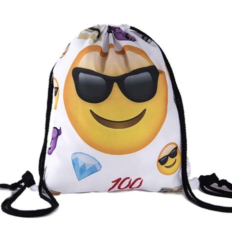 Bag Zada back to school emoji sunglasses smile white design drawstring bag backpack on luulla
