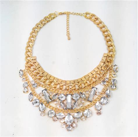 Rhinestone Chain Necklace Golden new chunky gold chain necklace for fashion luxury