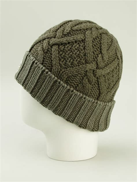 cable knit hats lyst moncler cable knit beanie in green for