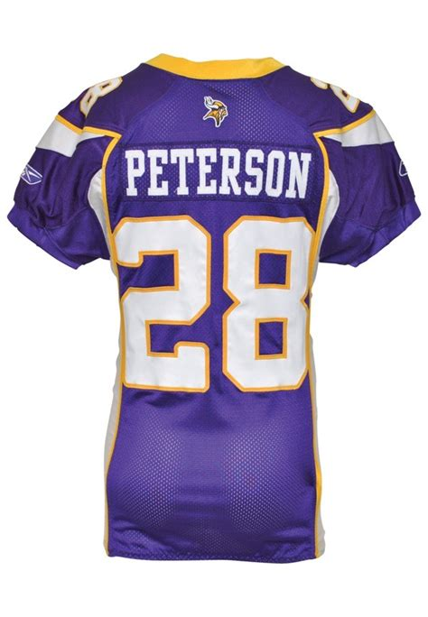 premier white adrian peterson 28 jersey unique p 58 lot detail 2007 adrian peterson rookie minnesota vikings