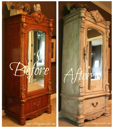 Painted Armoire Furniture by All Things Beautiful Armoire Painted Furniture Makeover